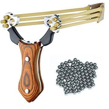 MEJOSER Set Profi Steinschleuder aus Stahl und mit Holz-Griff und Gummiband + 100 Stahlkugeln Munition (steinschleuder)
