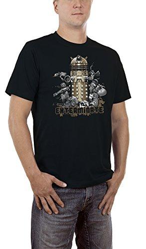 Touchlines Herren T-Shirt Dalek Exterminate Schwarz (Black 13), (Dalek Halloween Kostüme)
