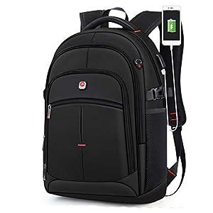 41Qo3zUvm5L. SS300  - Mochila para computadora portátil con Puerto de Cargador USB Agujero para Auriculares Bolsa de Trabajo para Negocios al Aire Libre Viajes FENGMING (Color : Negro, Tamaño : 21inches)