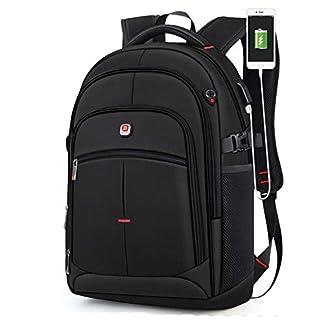 Mochila para computadora portátil con Puerto de Cargador USB Agujero para Auriculares Bolsa de Trabajo para Negocios al Aire Libre Viajes FENGMING