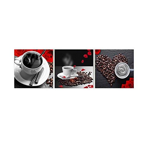 Leinwandbild, ungerahmt, Wohndeko, 3-teilig, Kaffeebohnen-Gemälde, Rycnet, 40 * 40cm