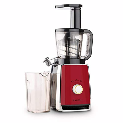 Klarstein Sweetheart Licuadora - Exprimidor vertical, Extractor de zumo, Prensa helicoidal, Filtro acero inoxidable, 2 x 900 ml, 150 W, 32 rpm, Cierre seguridad, Modo inverso, Rojo