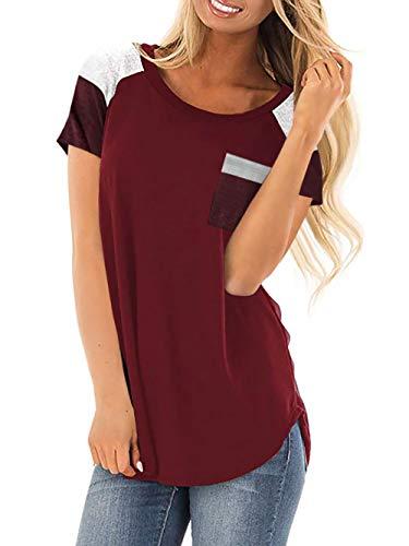 aa404f545 AMORETU Ladies Short Sleeve Tops Summer T Shirts Sweatshirt Blouse  (Burgundy,L)