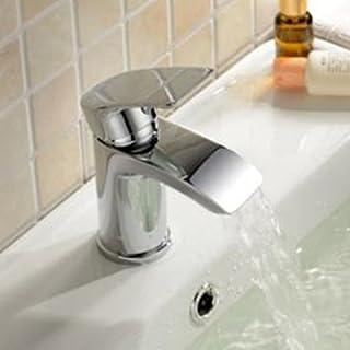 Alfred Victoria Modern Mono Basin Brass Mixer with Sprung Waste SB07 - Chrome Finish