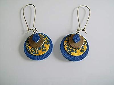 Boucles d'Oreilles Originales Bleu Electrique Marine Roi Royal Jaune Moutarde Curry Bronze Cuir/Papier/Métal Dormeuse clip possible pas cher