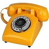 Retro Telefono Rotante Composizione Anni '70 Stile Vecchio Telefono Fisso, Suonerie Retrò Autentiche (Giallo)