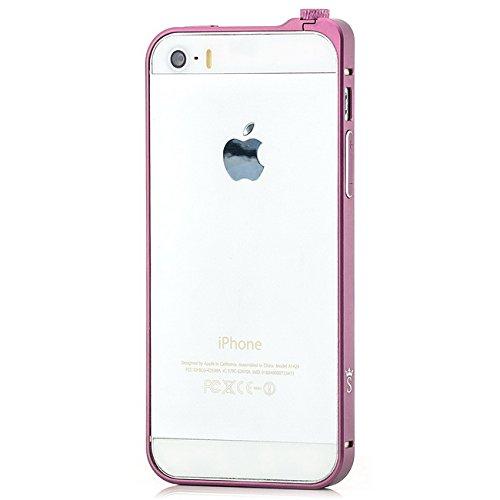 Saxonia Bumper en aluminium avec bouton rotatif pour Apple iPhone se/5/5S Case Coque ultra slim Cadre en aluminium (Fermeture de bouton rotatif) rose