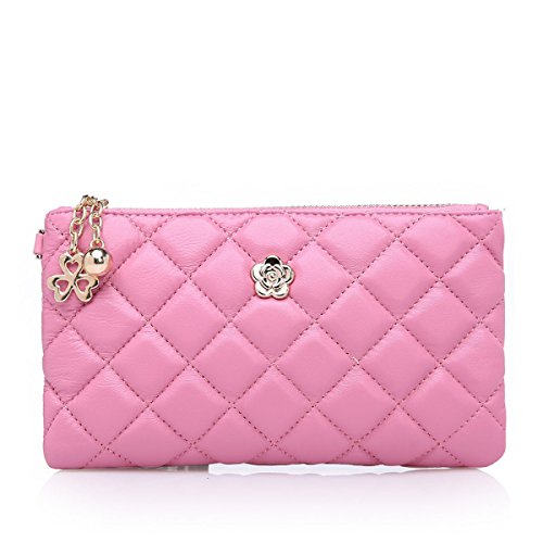WU Zhi Lady In Pelle Rombi Pochette Portafogli Pink