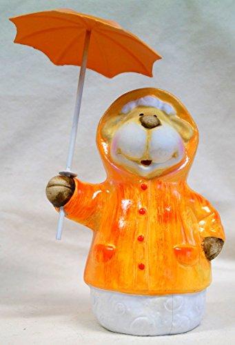 Dekofigur Schwein, Frosch, Schaf und Kuh mit Schirm in verschiedenen Farben (orange)