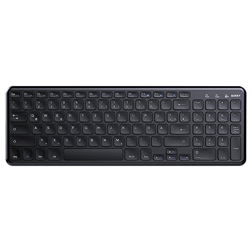 AUKEY Wireless Tastatur 2.4G 96 Tasten DE Layout kabellos Tastatur Mit WiFi USB Receiver kompatiblel Mit WiFi Receivermit Windows, iOS, Android, Linux-Schwarz