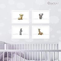 Safari Animal Nursery Prints by Pawprint Illustration | Set of 4 - Lion, Elephant, Zebra, Giraffe | Customise your Set | Frames not included