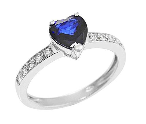Anello in oro bianco 18kt con Zaffiro a cuore e diamanti