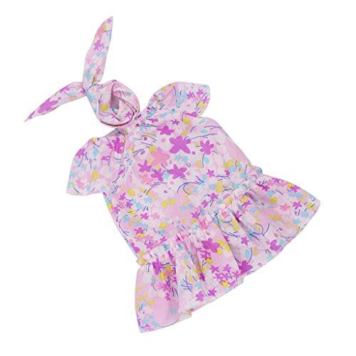 Baoblaze Schöne Puppenkleid Puppe Blumenkleid & Haarband Sommer Kleidung Outfit Für 18 Zoll Mädchen Puppe Dress up - Lila, # D (Lila Dress Up Set)