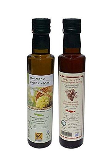 2x 250ml griechischer Weinessig Rot & Weiß BIO aus Weintrauben 2 Flaschen im Set 500ml gesamt +...