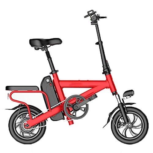 HBBenz Bicicletta Elettrica,Pieghevole e Portatile Elettrica Scooter Bicicletta a Pedalata Assistita con Illuminazione a LED Unisex Bicicletta,Battery~10.4red