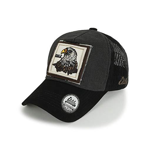 ililily Wolf REH Tier Rechteck Flicken Freizeitkleidung Netz Baseball Cap Trucker Cap Hut, Eagle