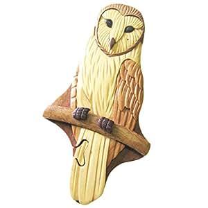 timber-treasures fait à la main en bois boîte Puzzle Chouette effraie