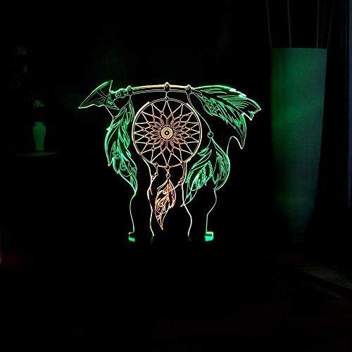 Luz De Noche 3D Campanas De Viento Maravillosas Lámpara De Escritorio Atrapasueños Habitación De Niña Dulce Deco Touch Led Luz De Noche Regalo De Cumpleaños Multicolor