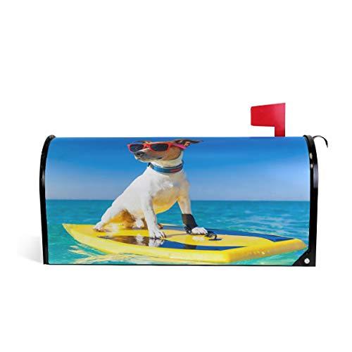 CPYang Lustiger Hund Ocean Surfen Magnet Briefkasten-Abdeckung für Zuhause, Garten, Hof, Dekoration, Umschlag