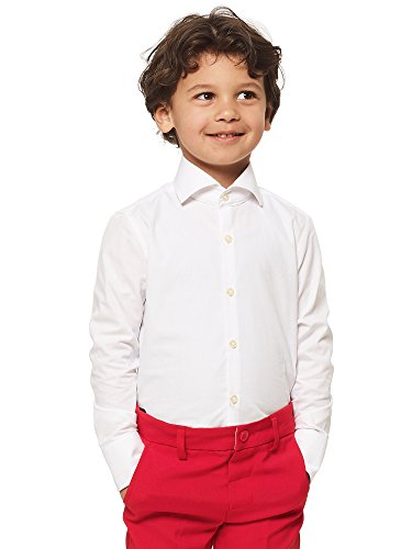 Opposuits White Fitted Button-up Shirt with Long Sleeves for Boys - White Tuxedo T-shirt