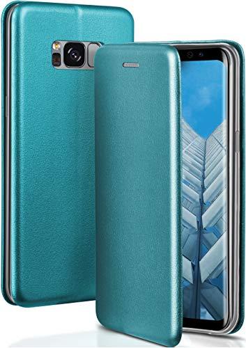 ONEFLOW Samsung Galaxy S8 | Hülle Hell-Blau mit Karten-Fach 360° Business Klapp-Hülle Handytasche Kunst-Leder Handyhülle für Samsung Galaxy S8 Flip Case Cover Tasche Schutzhülle