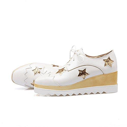 VogueZone009 Damen Quadratisch Zehe Schnüren Pu Leder Rein Mittler Absatz Pumps Schuhe Weiß