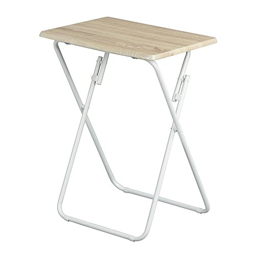Aingoo Folding Table Small Snack Table Multi-Function Dinner Desk With Wood Top and Metal Frame,TV Laptop Trays for Home Office,Beech