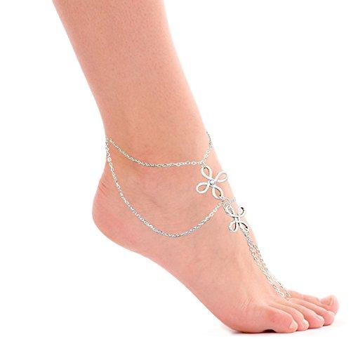 Jane Stone Damen Fußschmuck 1 Stück bohemian Boho Ethno Stil Barfuss Sandalen Fußkettchen Fusskette (Kleid Zehenring Sandalen)