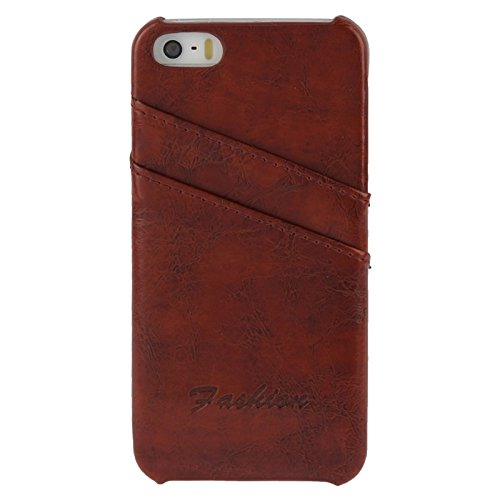 wkae Schutzhülle Fall & Cover Deluxe Retro PU-Leder Back Cover Case mit Card Slots Mit Fashion Logo für iPhone 5& 5S & SE braun