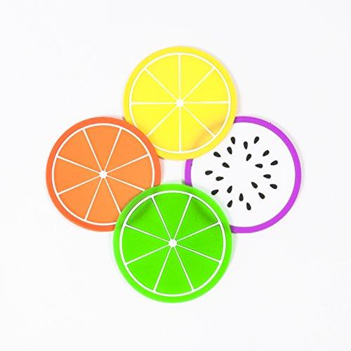 Didcant Colorful Silikon Fruit Untersetzer, perfektes Design und Multi Muster für Drink/Wein/Suppe, Home/Office Mittelpunkt für Tisch – Fantastisches Geschenk Einzugs (Zitrone, grün Zitrone, Dragon Fruit, orange), 4 Colors, 4-pack (4 Farben, 4 Packung) (Freien Im Sauna)