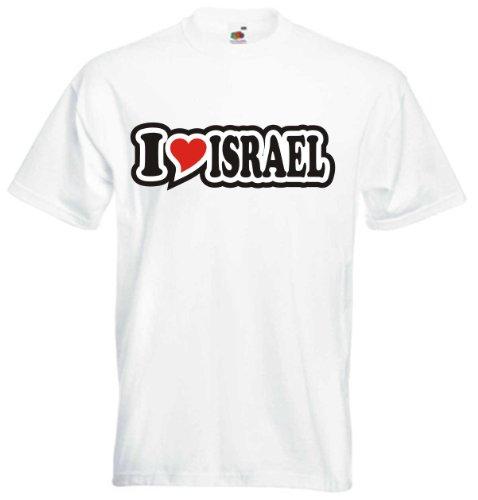T-Shirt Herren - I Love Heart - I LOVE ISRAEL Weiß