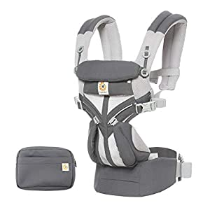 Ergobaby Baby Carrier for Newborn to Toddler, 4-Position Omni 360 Cool Air Carbon Grey, Breathable Ergonomic Child Carrier & Backpack   3