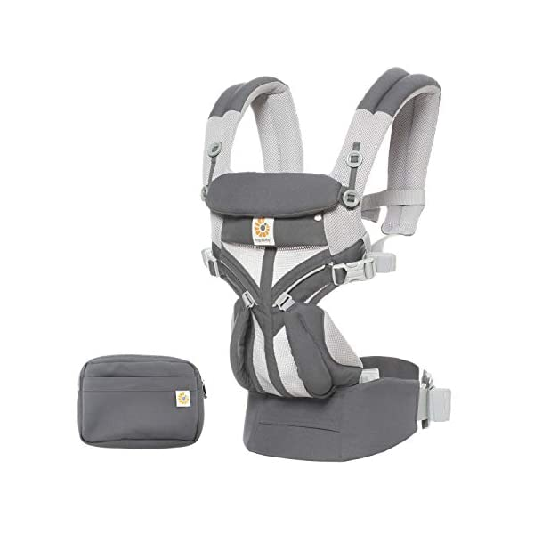 Ergobaby Baby Carrier for Newborn to Toddler, 4-Position Omni 360 Cool Air Carbon Grey, Breathable Ergonomic Child Carrier & Backpack Ergobaby BABY CARRIER FOR NEWBORN - Adapts to your growing baby from birth to toddler (7-45lbs). 4 carry positions: front-inward, back, hip, and front-outward. A Baby hood for sun protection (UPF 50+) & privacy for sleeping or breastfeeding is included. COMFORT - Exceptional lower back comfort with padded lumbar support waist belt & extra padded shoulder straps with the option to wear 2 ways: crossed or backpack style. Waist belt can be worn high or low to maximize comfort. COOL & BREATHABLE - Our Cool Air Mesh baby carriers are made with soft and durable mesh fabric that provides our renowned ergonomic support for baby while allowing for ultimate breathability and airflow 1