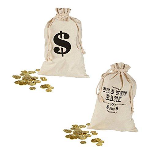 Kostüm Cowboy Bandit - Bankräuber Geldsack Dieb Geld Sack 30 x 48 cm Dollarzeichen Stoffsack Räuber Geldbeutel Wild West Bank Beutel Cowboy Kostüm Zubehör