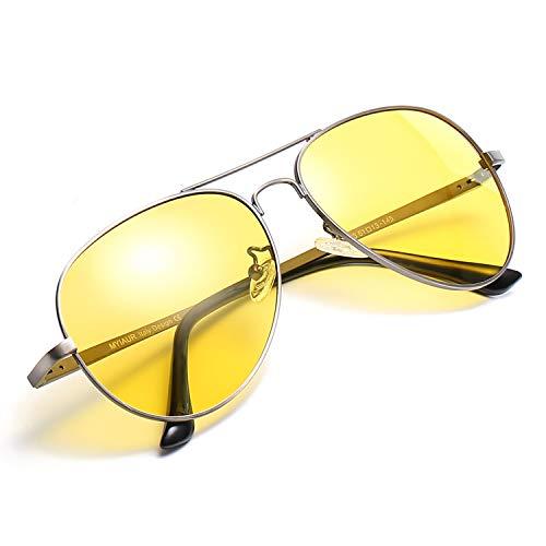 Myiaur HD Gelbe Nachtsichtbrille Autofahren Polarisiert für Damen Herren Pilotenbrille with 100{2af670a30fe587a39a11fab02585b20d8103588ffd1237c42517ae8cf93ea9c9} UVA UVB Schutz Entspiegelten (Grau)