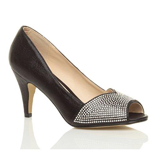 Donna tacco alto punta aperta d'orsay strass sera scarpe sposa sandali taglia Nero