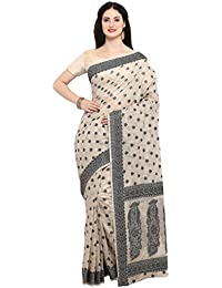Varkala Silk Sarees Women's Cotton Silk Banarasi Saree With Blouse Piece (TD1157CM_Cream_Freesize)