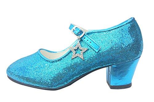 La Senorita Spanische Flamenco Elsa Frozen Schuhe - Blau Glamour - Größe (Blaue Kostüme Ballerina)