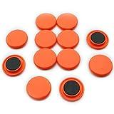 First4magnets F4M40-ORANGE Große Brett/Planung-Magnet, 1 Packung mit 12, Metall, schwarz, 40 mm Durchmesser x 8 mm hoch