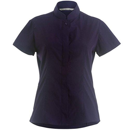 Collare del mandarino Equipaggiata Maniche corte shirt da donna, K - Purple - 16