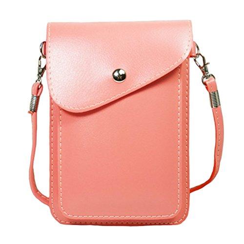 Mobile-edge-pink Handtasche (PU-Leder 2Lagen Vertikal Handy Pouch Bag mit Schultergurt und magnetischer Knopf für Apple iPhone Samsung Galaxy und andere Smartphone, Style1-Pink)