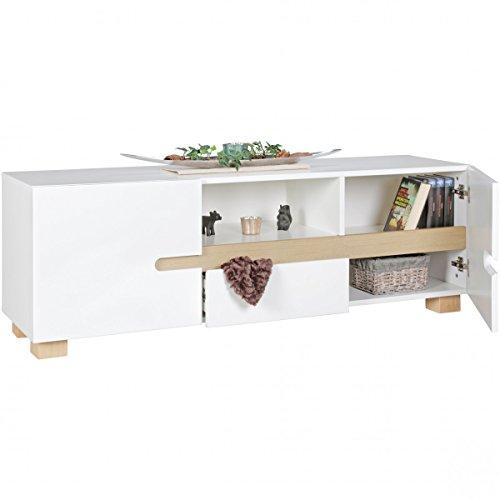 Blanc étagère en Bois scandinave Lowboard SKANDI HiFi | Design Rétro TV & Plateau avec Portes à tiroirs | TV-Commode avec Pieds en chêne