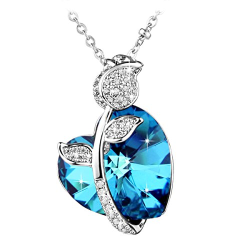 Le premium® 'amore rosa' collana a pendente fatta di cristalli a forma di cuore da swarovski-bermuda di cristallo blu