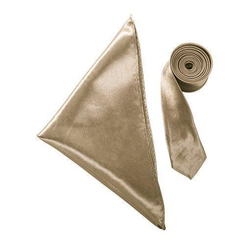 Krawatten-tasche Gold (Robelli Schmal Satin Einfarbige Krawatte & Tasche Quadratische Taschentuch Satz - Satin, Kupfer Gold, 100% satin, Herren, One size)