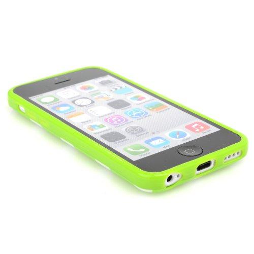 MADCASE Apple iPhone 5C Premium Leder/Harthülle/Gel/Silikon/Strapazierfähig/Durchsichtig/Klar/Portemonnaie/Kreditkartenhalter Flip Case Bumper Ständer Hülle mit Display Schutz und Eingabestift - Weich Polka Dots - Green