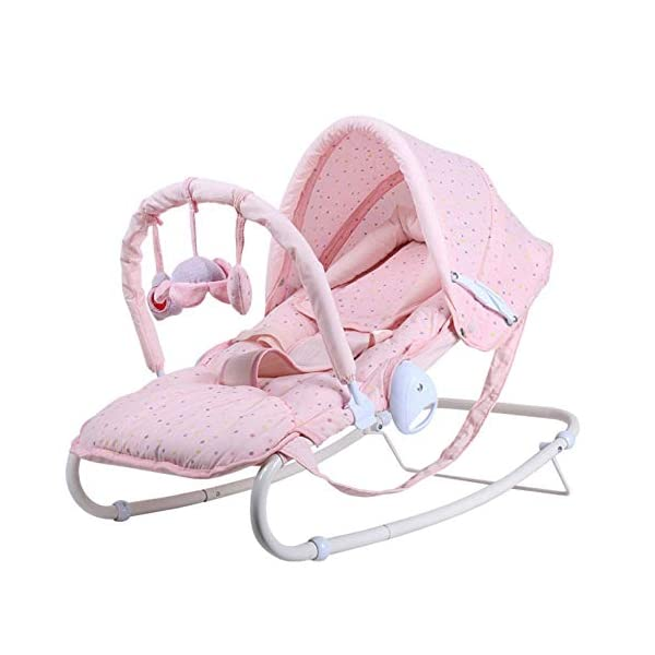 Baby Rocking Chair Music Baby Cradle Recliner Soothing Vibration New-Born Bouncer Appease Comfort,Toy, Mosquito Net,Gift,Pink LLX Material: skin-friendly fabric, breathable and sweat-absorbent, no deformation, no ball, anti-static. Multi-adjustment: semi-lying mode, comfortable breast-feeding angle; Lying flat mode, fit the spine, comfortable sleep; seat mode, eat while play. Perception: The rich and interesting rattle pendant helps to attract the baby to reach out and exercise the baby's perception of the outside world. 1