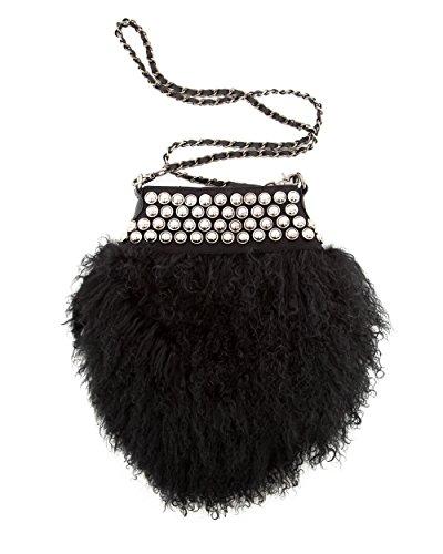 MAZE Felltasche Babs Handtasche, Lammfell, Nietenverschluss, Tragegurt verstellbar, schwarz, weiss Black