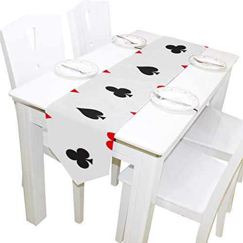 Yushg Poker Papier Anzahl Spiele Kommode Schal Tuch Abdeckung Tischläufer Tischdecke Tischset Küche Esszimmer Wohnzimmer Hause Hochzeitsbankett Decor Indoor 13x90 Zoll (Halloween-hochzeit Vegas Las In)