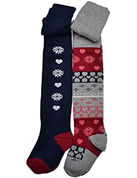 2 paia di calzemaglia per ragazze con motivo a fiocco di neve. Calzemaglia in cotone
