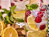 Wunschmotiv: Wooden boards glasses with alcohol cocktail and ice cubes. Drink number hundred seventy five close up of cocktail raspberry mohito with straw . Country life. #115869619 - Bild auf Alu-Dibond - 3:2 - 60 x 40 cm / 40 x 60 cm